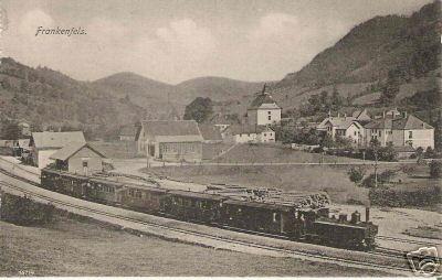 Dampfzug im Bahnhof Frankenfels, um 1900